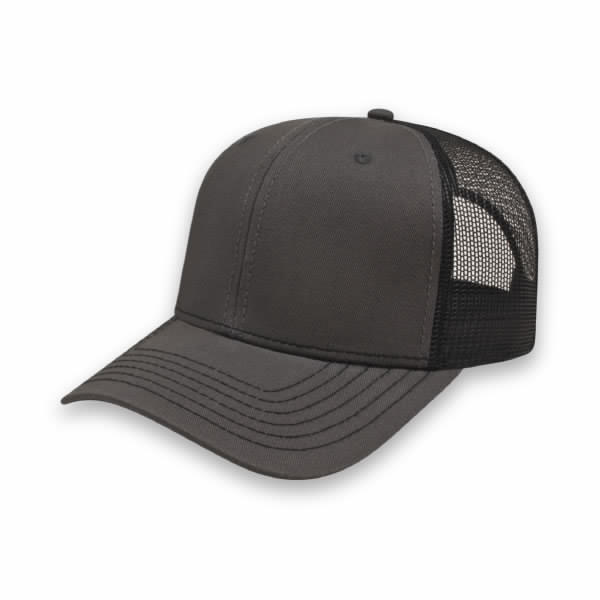 Charcoal/Black Modified Flat Bill with Mesh Back Cap